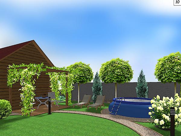 Ландшафтный дизайн возле бани
